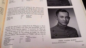 """Photo of photo of FVR on """"Howitzer"""" 1950, USMA's yearbook (Christian's iPhone)."""