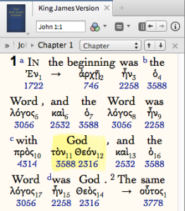 """ho logos en pros ton Theon"" the Word was with God, Jn 1:1"